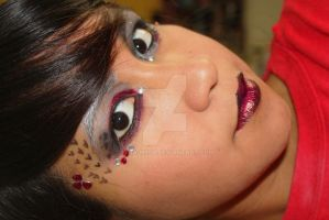 red, white and black makeup by MiSA-MiiSA