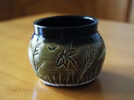 Green and Black Wetlands Themed Ceramic Vase by ashynekosan
