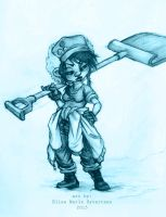 sketch of some random character with a shovel by oomizuao