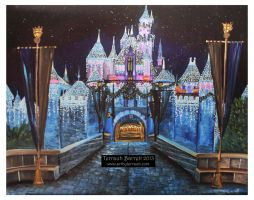 Sleeping Beauty Castle in Winter by Terrauh