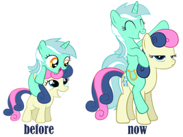 Bonbon and lyra Before and after by aborrozakale