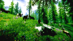 Wild Horses in a Lush Meadow by vee-kay