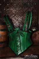 Elfic green leather corset by AtelierFantastique