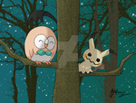Rowlet and Mimikyu by VortexOfSaturn