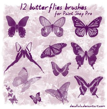 12 Butterflies Brushes for psp by LaVolpeCimina