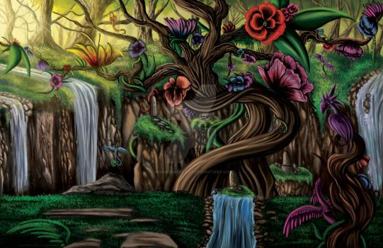 Tree of the Four Falls by InsaneAngelArt