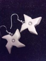 Clay Shuriken Earrings by UntouchedRayne