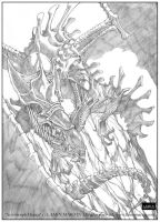 Xenomorph Dracus - pencil by ElementsWorkshop