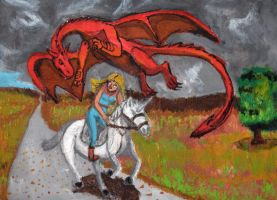 Riding away from Dragon by DungeonWarden