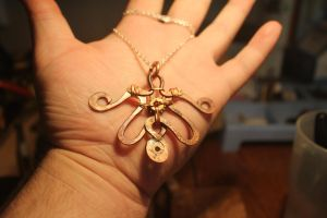 copper wirework pendant necklace by connerchristopher