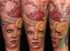 Girl with flowers by Gabor Jelencsik @ Dublin Ink by DublinInk
