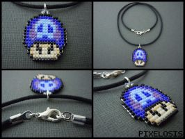 Handmade Tri Colored Poison Mushroom Necklace by Pixelosis