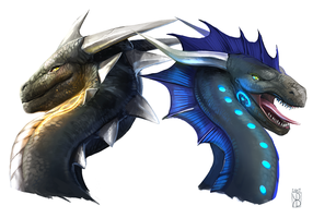 Victus and Nidhoggr by Raironu