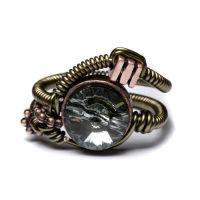 Steampunk ring black diamond by CatherinetteRings