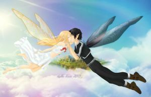 Kiss above the clouds [Asuna x Kirito] by LesleeTussa
