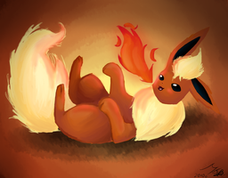 Flareon playing with the fire by Kalinel