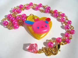 Neon Pop Bunny Necklace by pinkminx