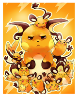 Dedenne and Raichu by Foxeaf
