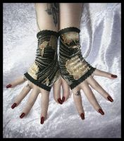 Velvet Fingerless Gloves by ZenAndCoffee