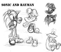 Sonic and Rayman by Chicaaaaa