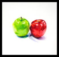 Colored Pencil Apple Siblings by aoiyoru