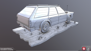 Station Wagon - Rear - Wireframe by DTHerculean