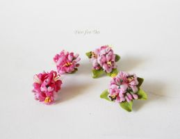 Two pairs of sakura earrings by fion-fon-tier