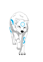 Wolf form of Aura by Psychodownthestreet