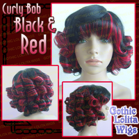 Curly Bob - Black + Red by GothicLolitaWigs