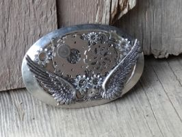 Steampunk silver belt buckle by Hiddendemon-666