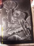 Keys -White Charcoal on Black- by katie6590