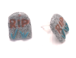 Miniature rest in peace sign, gravestone earrings by MiniSweetx