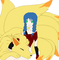 Akari And her ninetails by Tortured-Hearts
