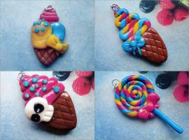 Lollipop and ice-cream charms by notursweetie