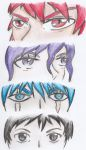 4 different anime / manga eye styles in colour by nickperriny7mai