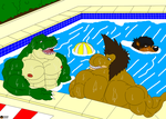 Discussion at the pool. by Maxime-Jeanne