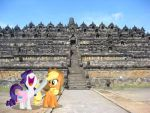 Rarity and Applejack at Borobudur Temple by laopokia