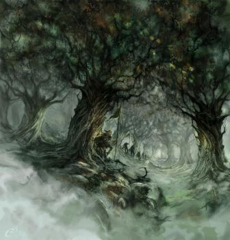 The Hallowed Hunt (landscape) by Agalanthe
