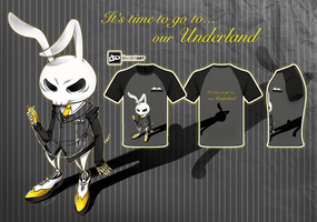 The skeleton rabbit form Underland   T-shirt by kuroneko-blkcat