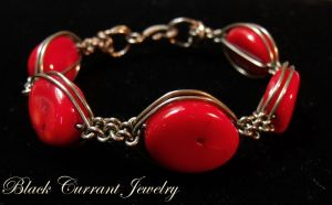 Red Coral Bracelet by blackcurrantjewelry
