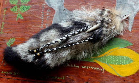 Fox and Raccoon Tail Hair Clips! by lupagreenwolf