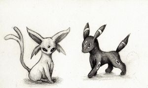 Espeon and Umbreon by merrydisposition