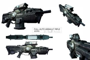 Auto assault rifle scoped. by DESTRAUDO