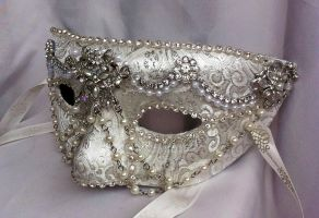 White Diamond Masquerade Mask by DaraGallery