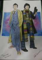 Tenth and Fourth Doctor commission by elena-casagrande