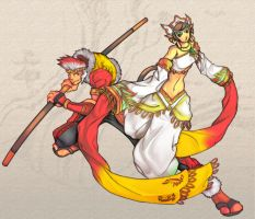 Sun Wukong and San Zang by rizal82