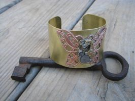 Steampunk Cuff Bracelet Brass with Butterfly Filig by bcainspirations