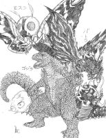 Godzilla vs Mothra by Metallian1990