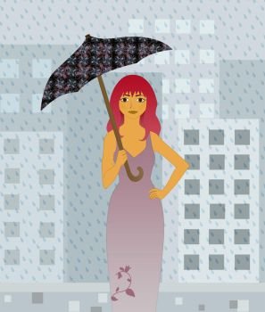 Girl with umbrella by HazelEyedWolf