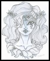 Poison Ivy B+W portrait by Ciro1984